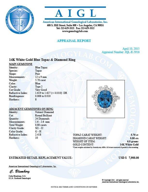 14k White Gold 5.70ct Topaz 0.80ct Diamond Ring - 5