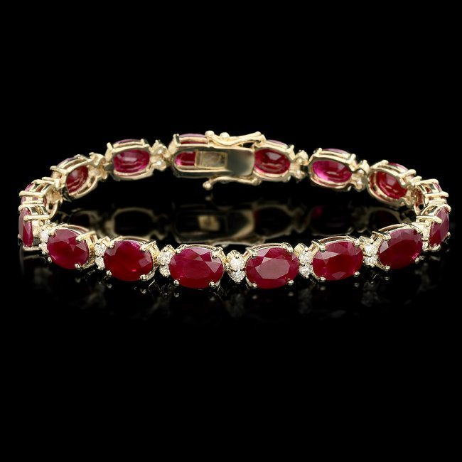 14k Gold 28.00ct Ruby 1.40ct Diamond Bracelet