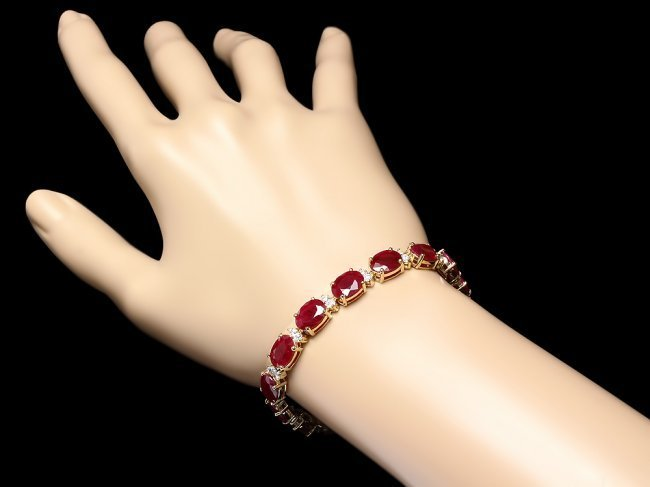 14k Gold 28.00ct Ruby 1.40ct Diamond Bracelet - 3