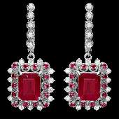 14k Gold 114ct Ruby 150ct Diamond Earrings