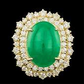 14k Yellow Gold 650ct Jade 200ct Diamond Ring