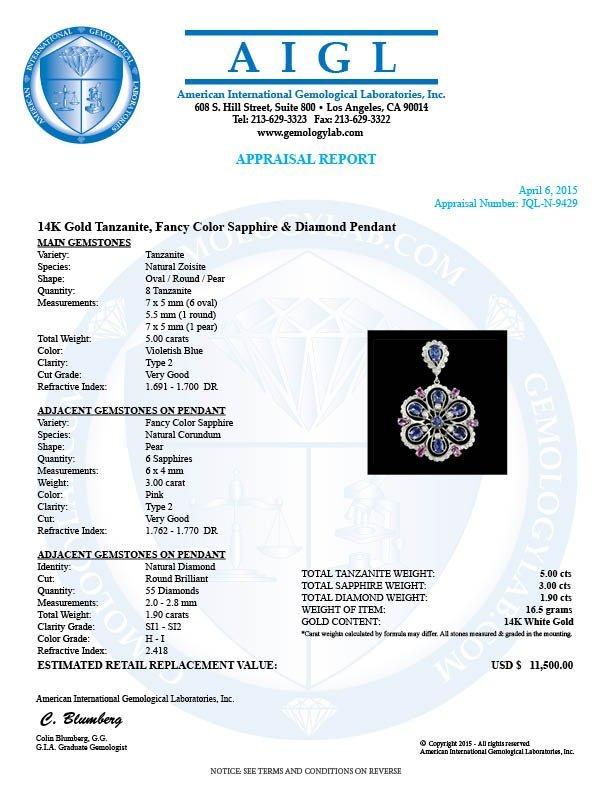 14k Gold 5.00ct Tanzanite 1.90ct Diamond Pendant - 4