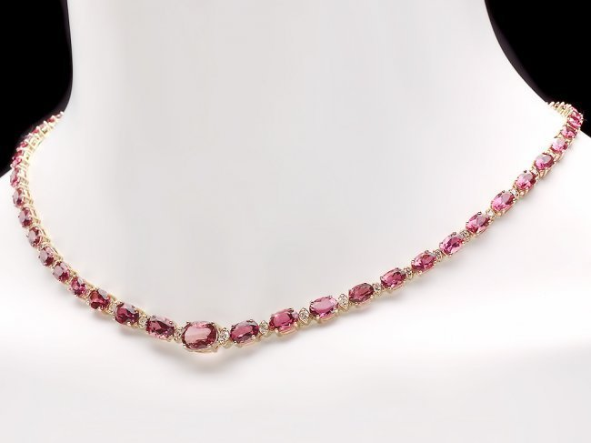 14k 26.10ct Tourmaline 1.60ct Diamond Necklace - 6
