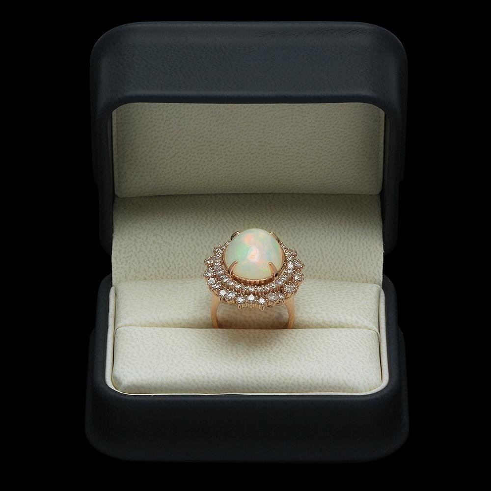 14K Gold 7.38ct Opal & 2.12ct Diamond Ring - 4