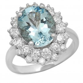 14k Gold 4.20ct Aquamarine 1.85ct Diamond Ring