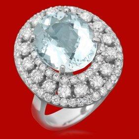 14k Gold 5.78ct Aquamarine 2.05ct Diamond Ring