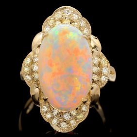 14k Yellow Gold 3.85ct Opal 0.50ct Diamond Ring