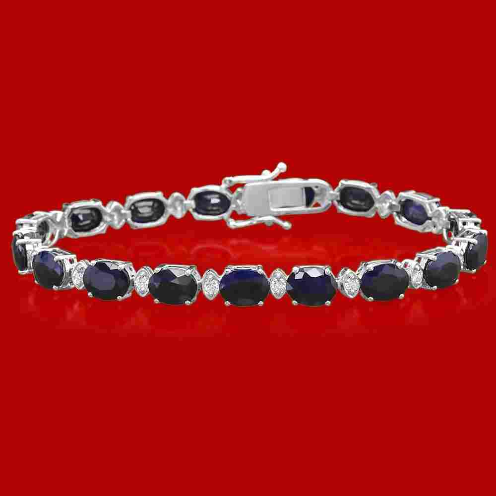 14k Gold 24.38ct Sapphire 0.85ct Diamond Bracelet