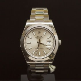 Rolex Stainless Steel Datejust 41mm Silver Dial Men's