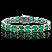 14k Gold 18ct Emerald 110ct Diamond Bracelet