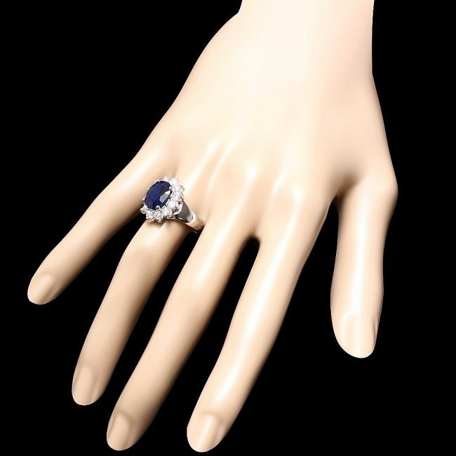 14k Gold 3.50ct Sapphire 1.00ct Diamond Ring - 3