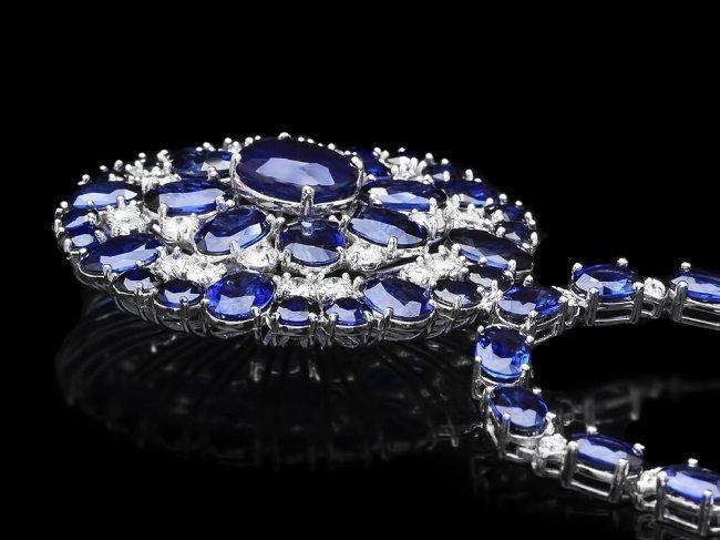 14k Gold 44ct Sapphire 2.60ct Diamond Necklace - 2