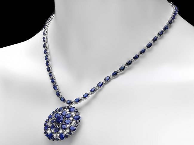14k Gold 44ct Sapphire 2.60ct Diamond Necklace - 4