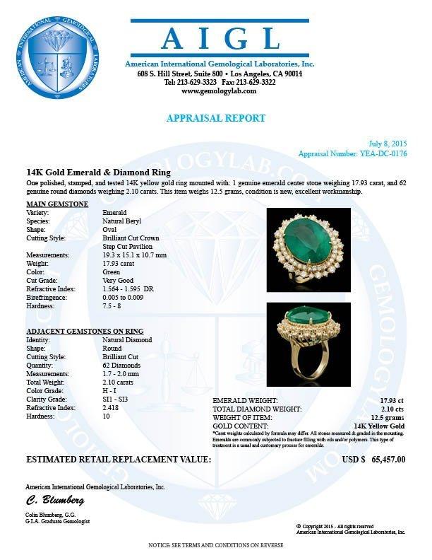 14K Gold 17.93ct Emerald 2.10ct Diamond Ring - 4