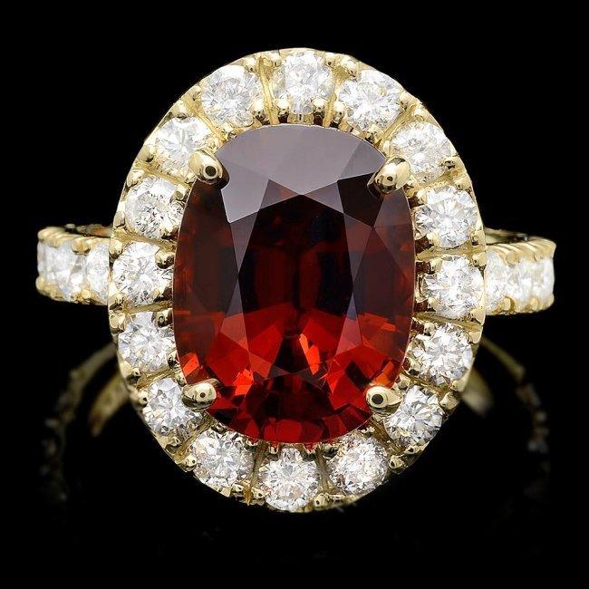 14k Yellow Gold 8.00ct Garnet 1.70ct Diamond Ring