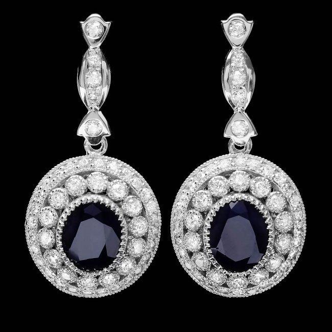 14k Gold 6ct Sapphire 2.55ct Diamond Earrings