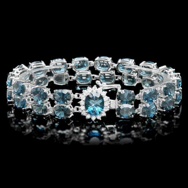 14k Gold 48.5ct Topaz 0.60ct Diamond Bracelet
