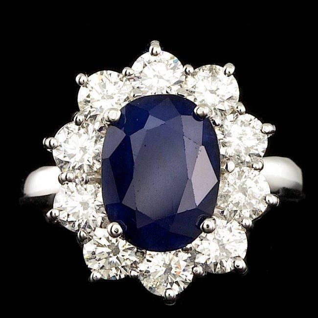 14k Gold 3.00ct Sapphire 2.10ct Diamond Ring