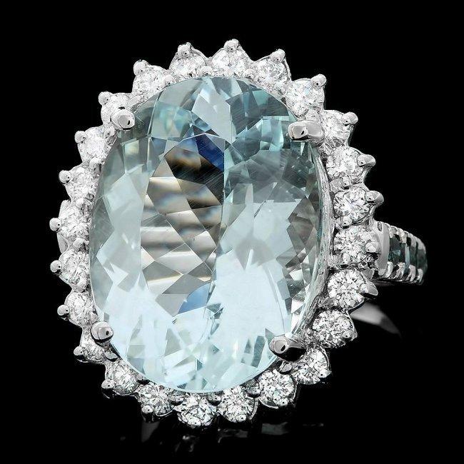 14k Gold 12.00ct Aquamarine 1.4ct Diamond Ring