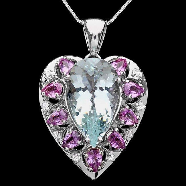 14k Gold 12ct Aquamarine .45ct Diamond Pendant