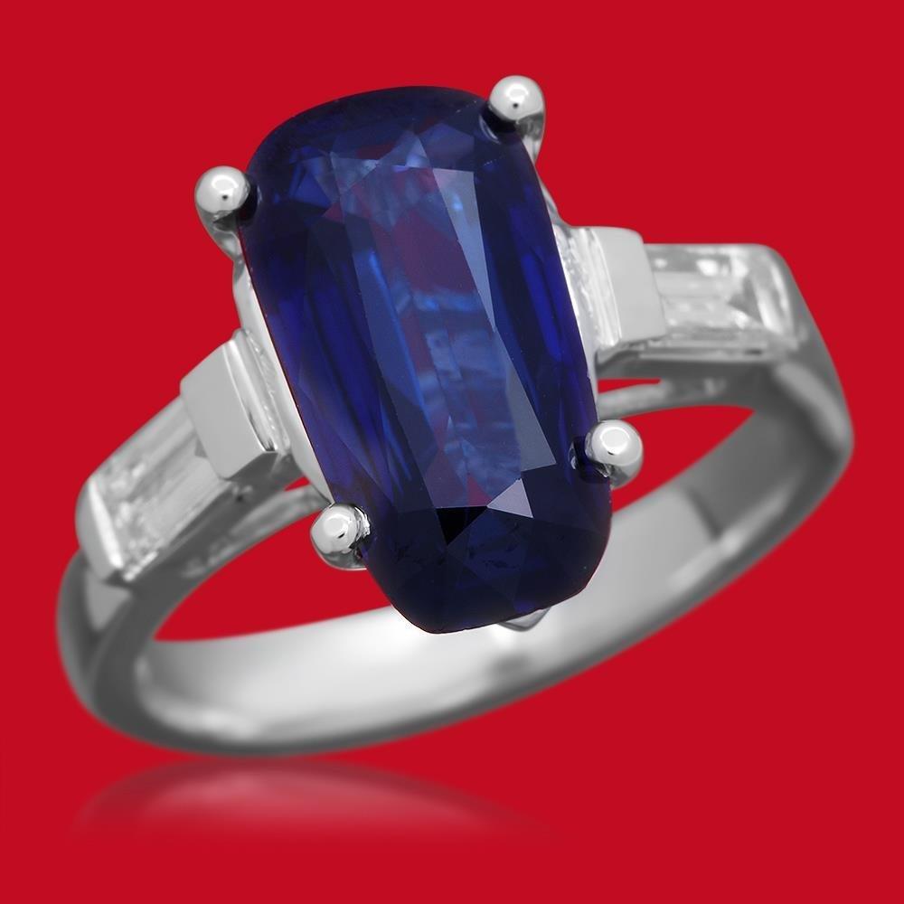 14K Gold 3.67ct Sapphire 0.53ct Diamond Ring
