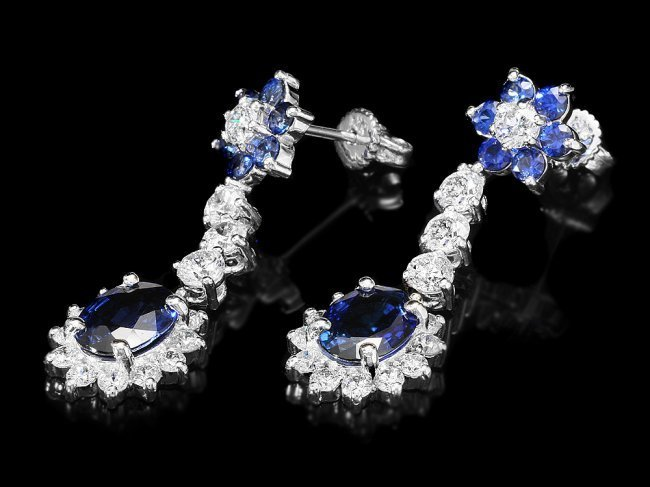 14k Gold 3.85ct Sapphire 2ct Diamond Earrings - 2
