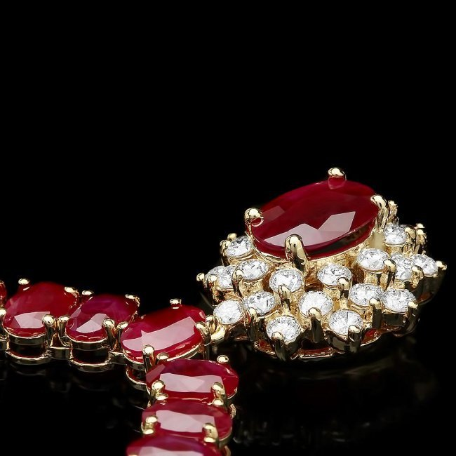 14k Gold 60.5ct Ruby 1.40ct Diamond Necklace - 3