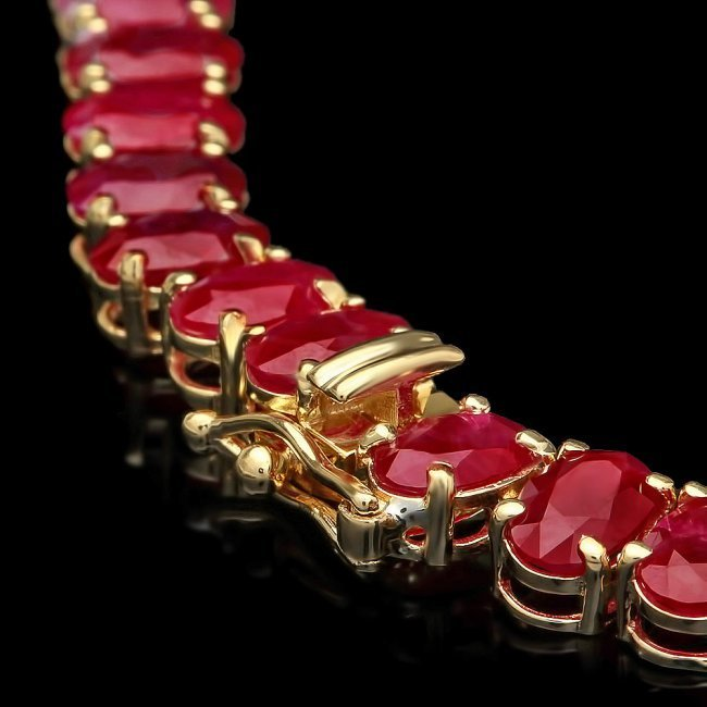 14k Gold 60.5ct Ruby 1.40ct Diamond Necklace - 4