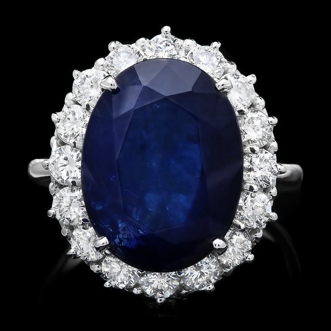 14k Gold 12.17ct Sapphire 1.48ct Diamond Ring