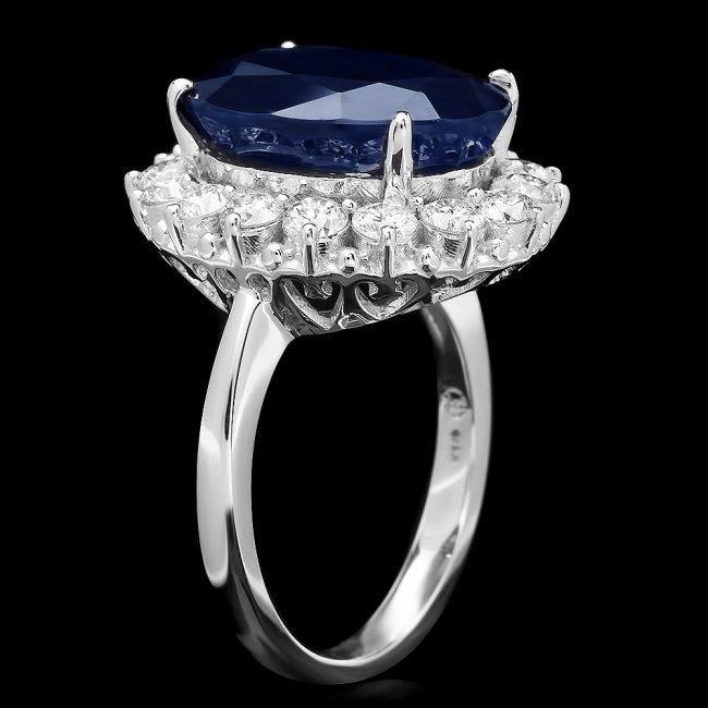 14k Gold 12.17ct Sapphire 1.48ct Diamond Ring - 2