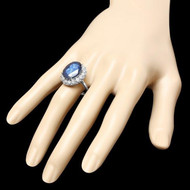 14k Gold 12.17ct Sapphire 1.48ct Diamond Ring - 3