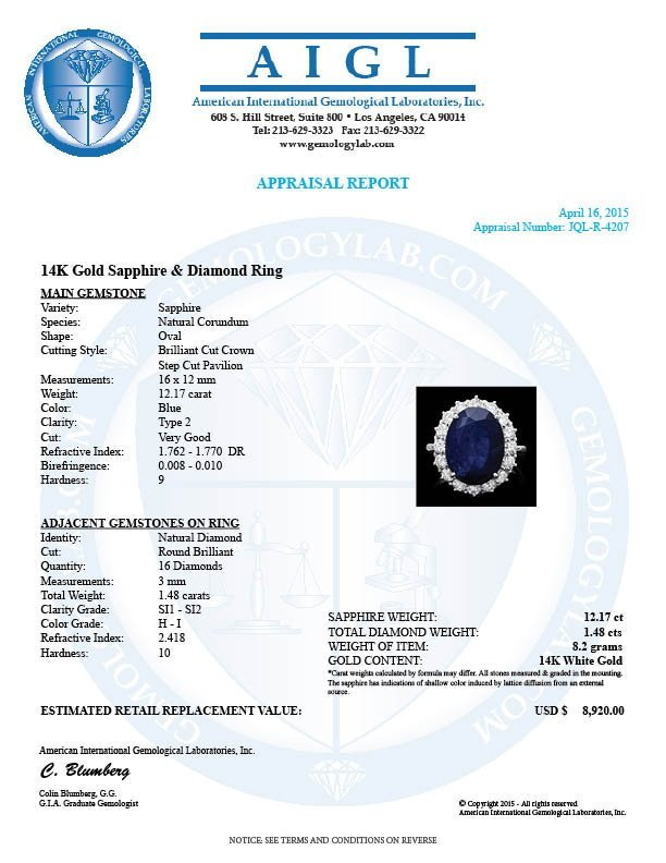 14k Gold 12.17ct Sapphire 1.48ct Diamond Ring - 4