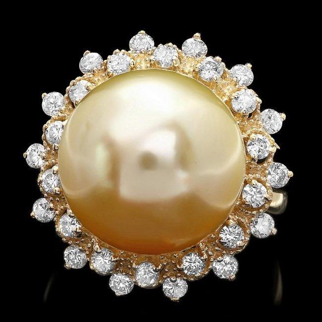 14k Gold 14 X 14mm Pearl 0.90ct Diamond Ring