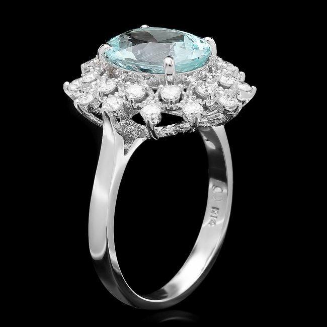 14k Gold 2.50ct Aquamarine 0.60ct Diamond Ring - 2