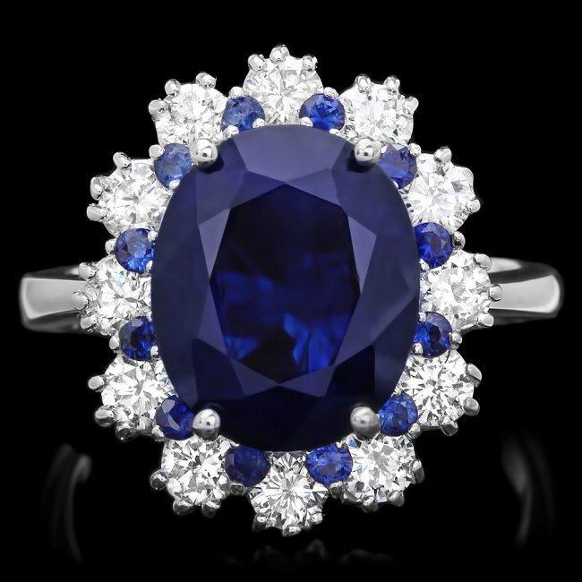 14k White Gold 6ct Sapphire 1.10ct Diamond Ring
