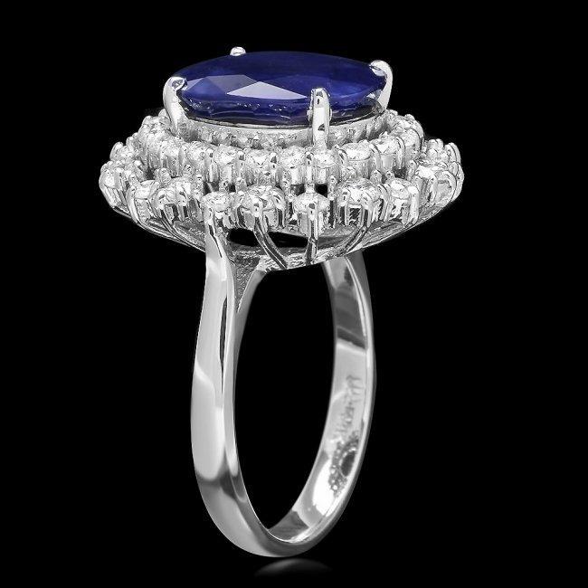 14k Gold 7.00ct Sapphire 1.60ct Diamond Ring - 2