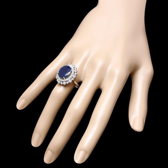 14k Gold 7.00ct Sapphire 1.60ct Diamond Ring - 3