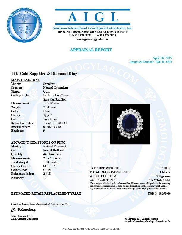 14k Gold 7.00ct Sapphire 1.60ct Diamond Ring - 4