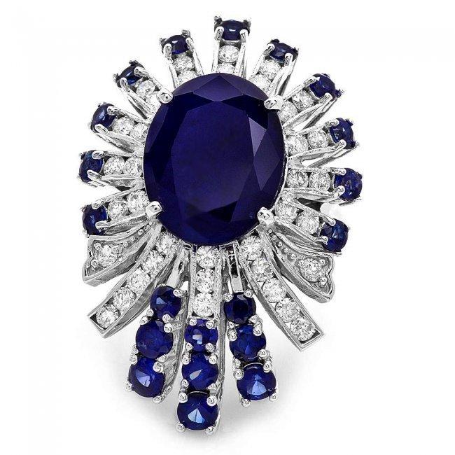 14k White Gold 8ct Sapphire 1.00ct Diamond Ring - 2
