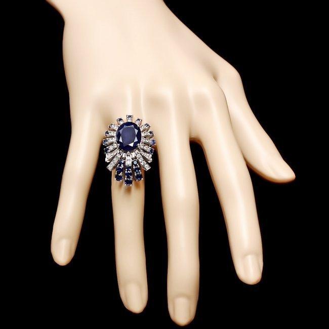 14k White Gold 8ct Sapphire 1.00ct Diamond Ring - 4