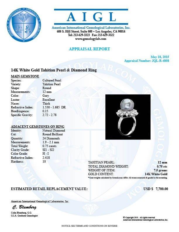 14k Gold 12 X 12mm Pearl 0.75ct Diamond Ring - 4