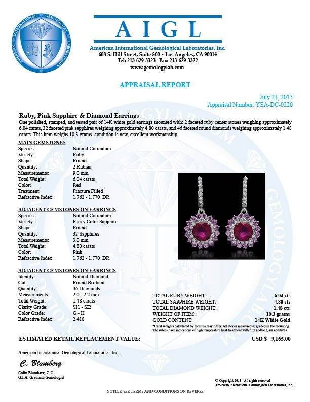 14K Gold 6.04ct Ruby, 4.80ct Pink Sapphire, 1.48ct - 3