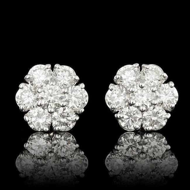14k White Gold 2.75ct Diamond Earrings