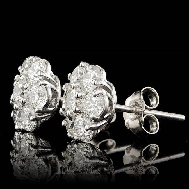 14k White Gold 2.75ct Diamond Earrings - 2