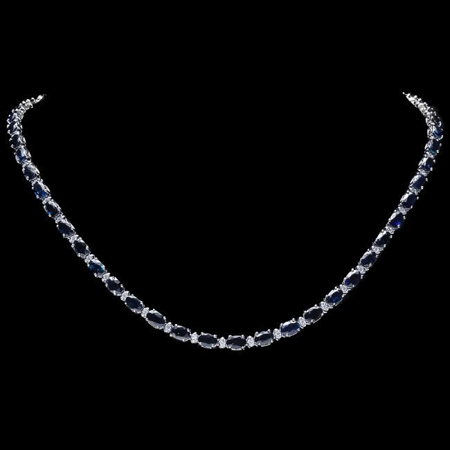 14k Gold 26.50ct Sapphire 1ct Diamond Necklace