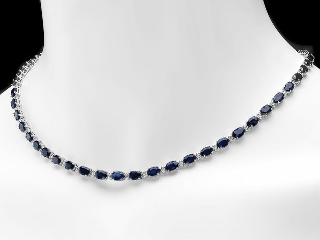 14k Gold 26.50ct Sapphire 1ct Diamond Necklace - 2