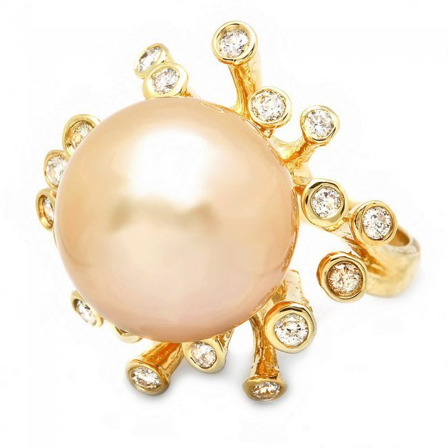 14k Yellow Gold 15mm Pearl 0.80ct Diamond Ring - 3