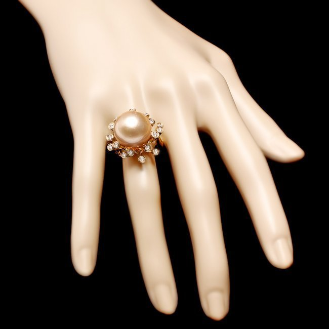 14k Yellow Gold 15mm Pearl 0.80ct Diamond Ring - 4