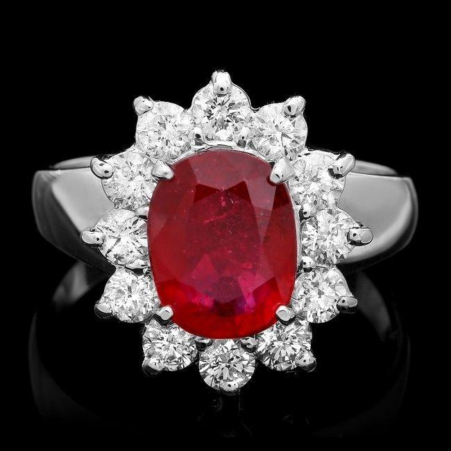 14k White Gold 3.40ct Ruby 1.00ct Diamond Ring