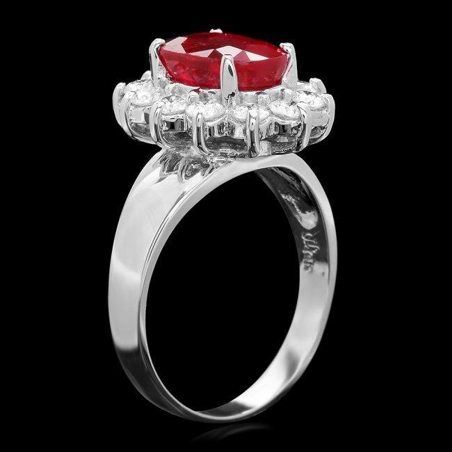 14k White Gold 3.40ct Ruby 1.00ct Diamond Ring - 2